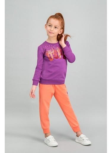 U.S. Polo Assn. U.S. Polo Assn Lisanslı İnci Pembe Kız Çocuk Payetli Eşofman Takımı Mor